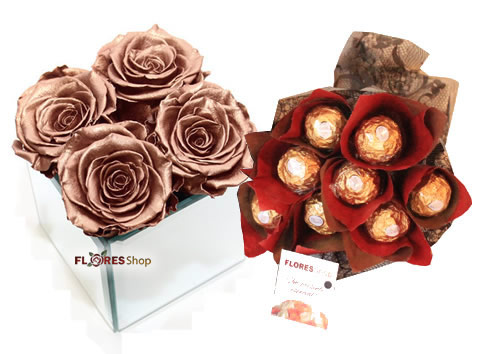 1234 Rosas Douradas e Buquê Ferrero