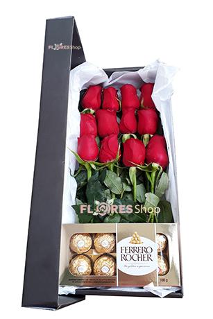 2004 Caixa de Rosas Vermelhas e Ferrero