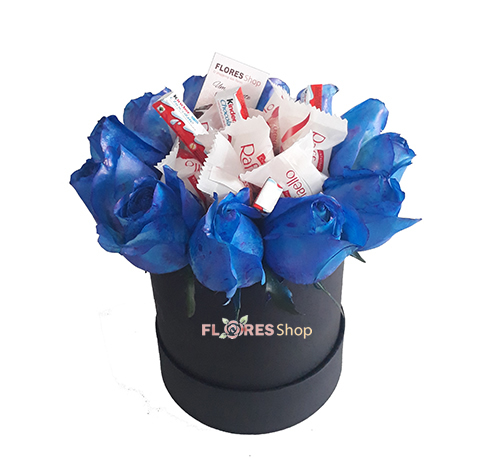 2246 Flowers Box Rosa azul e Chocolates