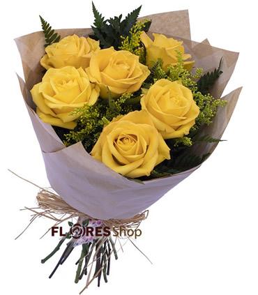 2714 Buquê 6 Rosas Amarelas