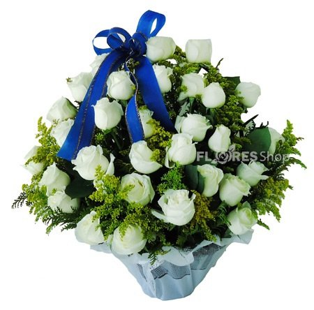 496 Cesta de Rosas Brancas